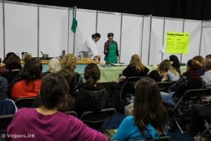 A cookery demo at Vegfest