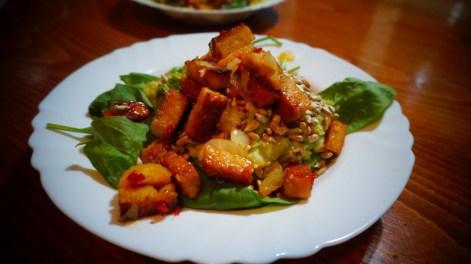 Guacamole - avokádová nátierka, špenát a opražené tofu