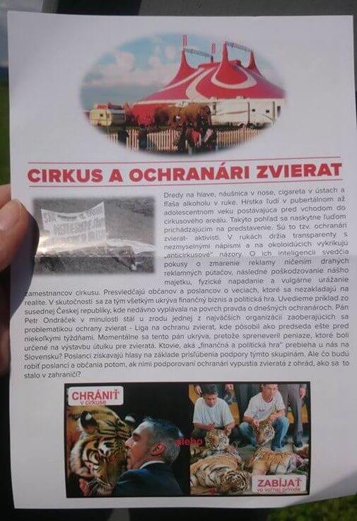 Cirkus Ales, Presov, letak proti ochrane zvierat2