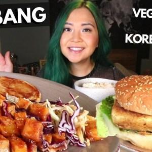 NO FISH BURGER & VEGAN KOREAN FEAST!!! Vegan Mukbang // Munching Mondays Ep.82