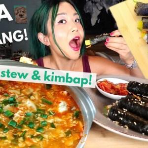 MINI KIMBAP & SOFT TOFU STEW (SUNDUBU JJIGAE) MUKBANG (vegan) / Munching Mondays Ep.92