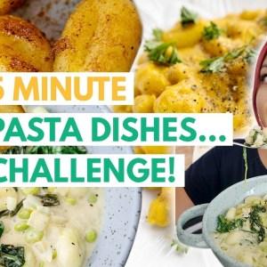 5 MINUTE VEGAN PASTA RECIPES CHALLENGE! (Featuring GNOCCHI!)