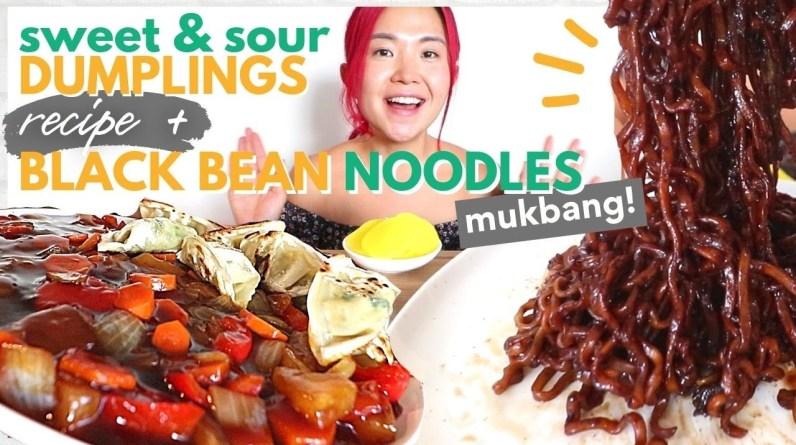 Sweet & Sour Dumplings RECIPE + Jjajangmyeon (Black Bean Noodles) MUKBANG / Munching Mondays Ep.100