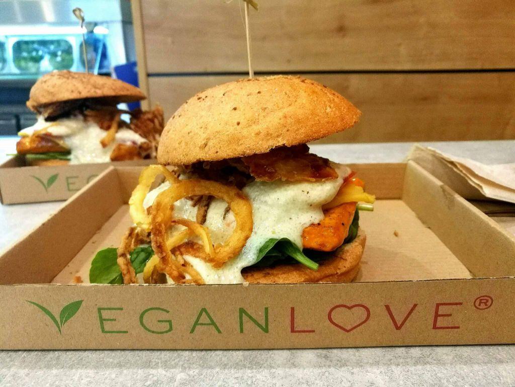 Vegan Burger at Vegan Budapest Restaurant
