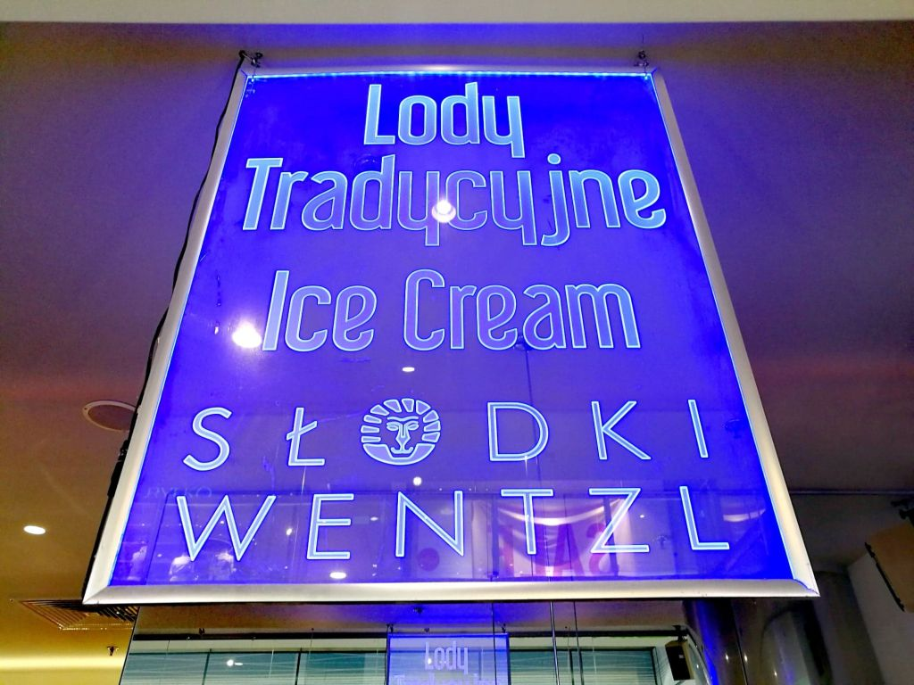 Blue Neon Ice Cream Sign