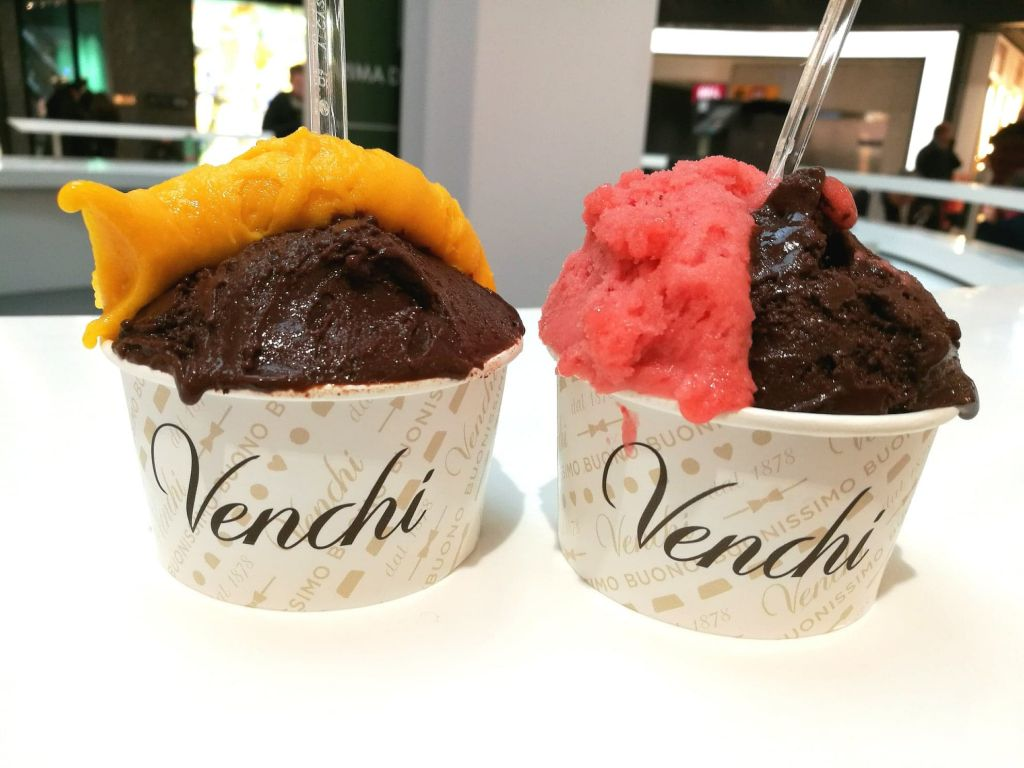 Vegan Chocolate, Mango, and Strawberry Gelato in Italy
