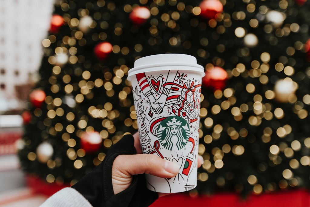 Person Holding Vegan Starbucks Drink Holiday Edition
