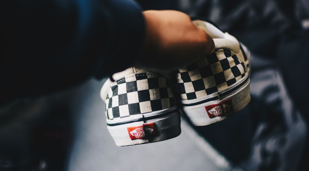 Person holding Vegan Vans Checkered Slip Ons