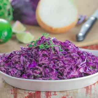 Creamy Garlic Thyme Purple Cabbage Slaw