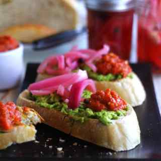 Avocado Tartine with Hot Serbian Ajvar & Spicy Pickled Onions