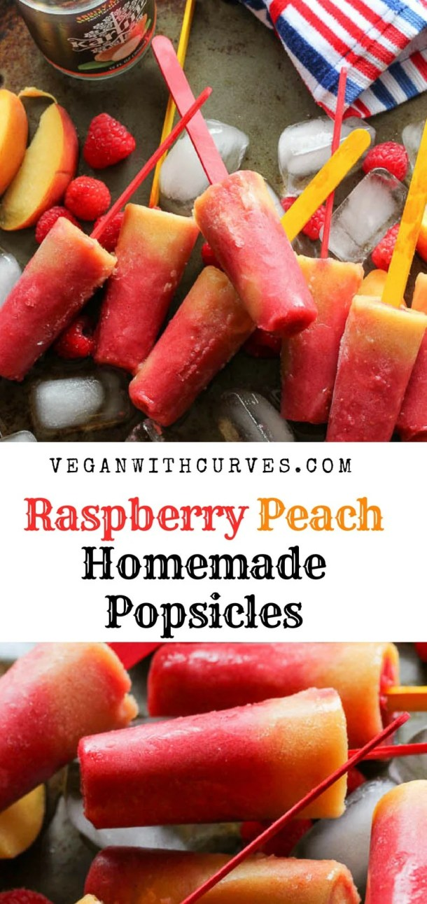 These homemade popsicles are so simple and easy to make!  Using fresh fruit like raspberries, peaches, and bananas, this homemade popsicle recipe will keep you cool all summer long!