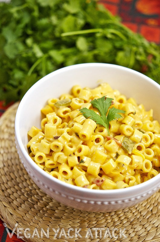 This Mexican Macaroni & Cheeze is notyour typical vegan mac, this dish has some added flair with ingredients like jalapenos, cayenne, and black beans!