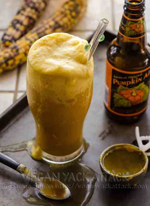 To debut my newest creation, The Great Vegan Pumpkin eBook, I'm sharing one of my favorite recipes from it! You'll love this decadent, Double Pumpkin Beer Float, with homemade pumpkin ice cream.