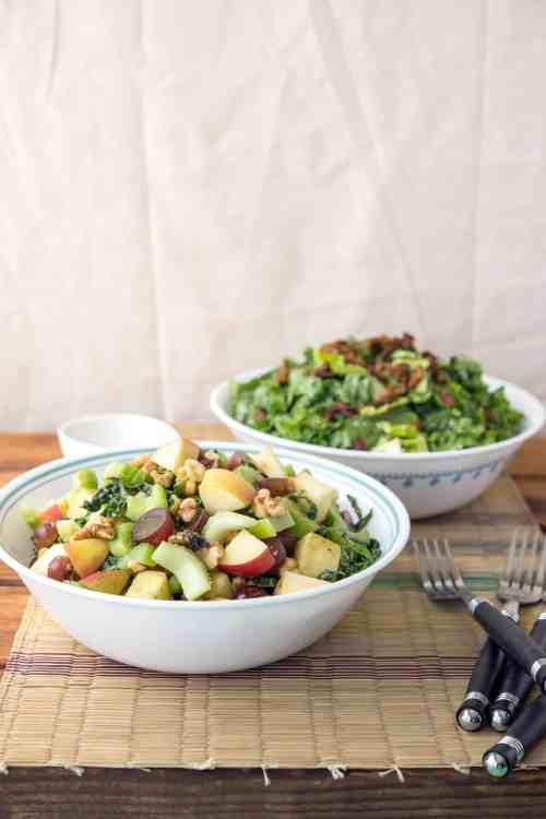 Waldorf Salad & Caesar Salad with Tempeh Bacon