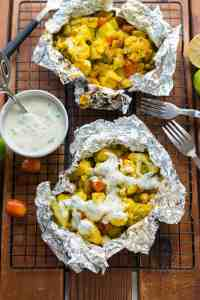 Curry Cauliflower Grill Packets with Yogurt Sauce