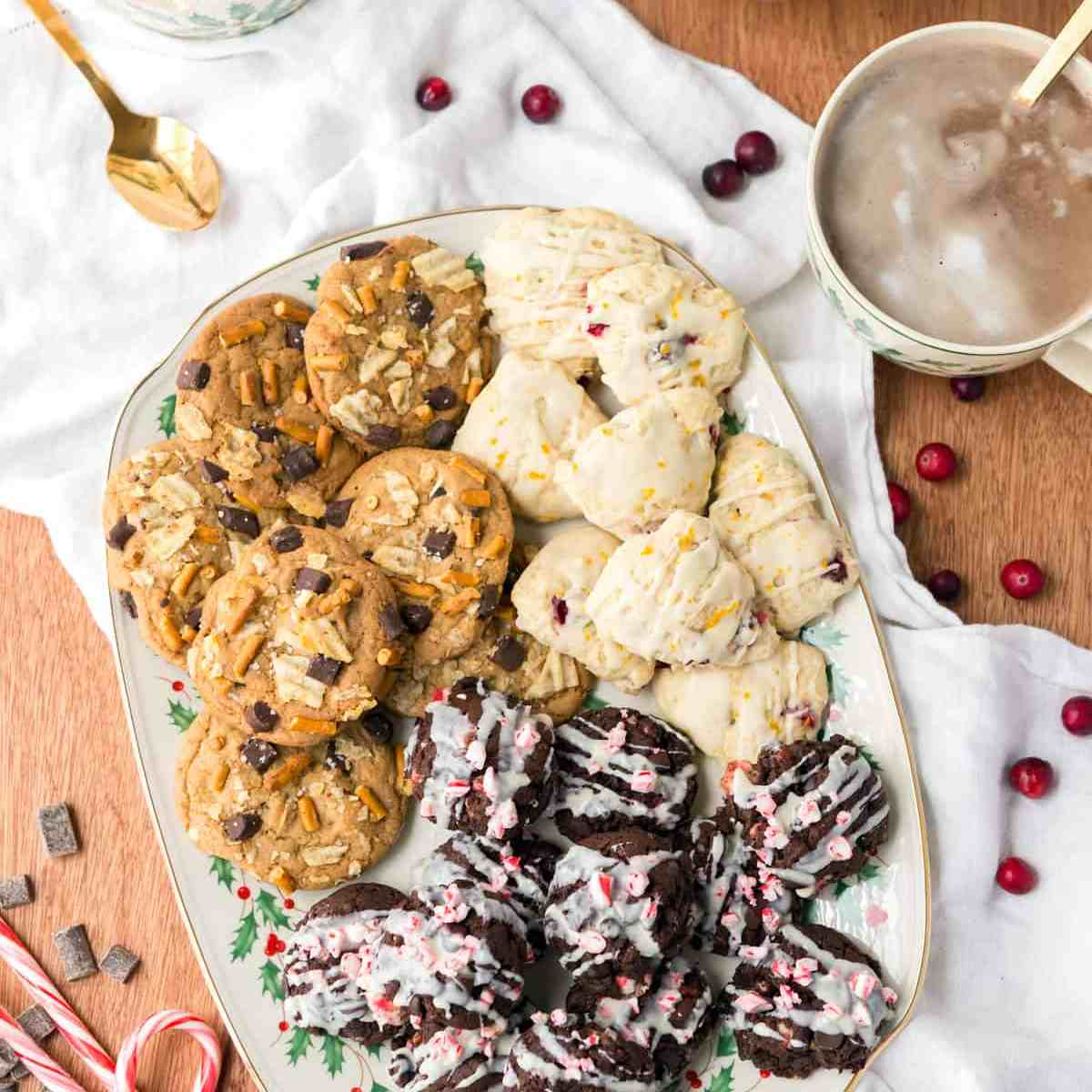 Double Chocolate Peppermint Cookies - Rich treats filled with chunks of peppermint and drizzled with vegan white chocolate. Served on a beautiful Lenox platter with hot cocoa! #nutfree #lenoxusa #spon