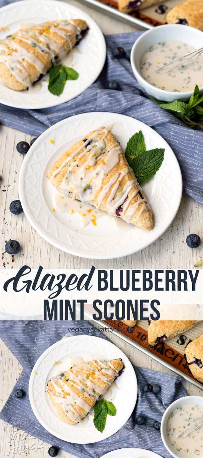 These Glazed Blueberry Mint Scones are the perfect Spring breakfast, paired with tea or a strong cup of coffee! Surprisingly easy-to-make, too. #Sweet4MotherNature Vegan, Soy-free, Dairy-free