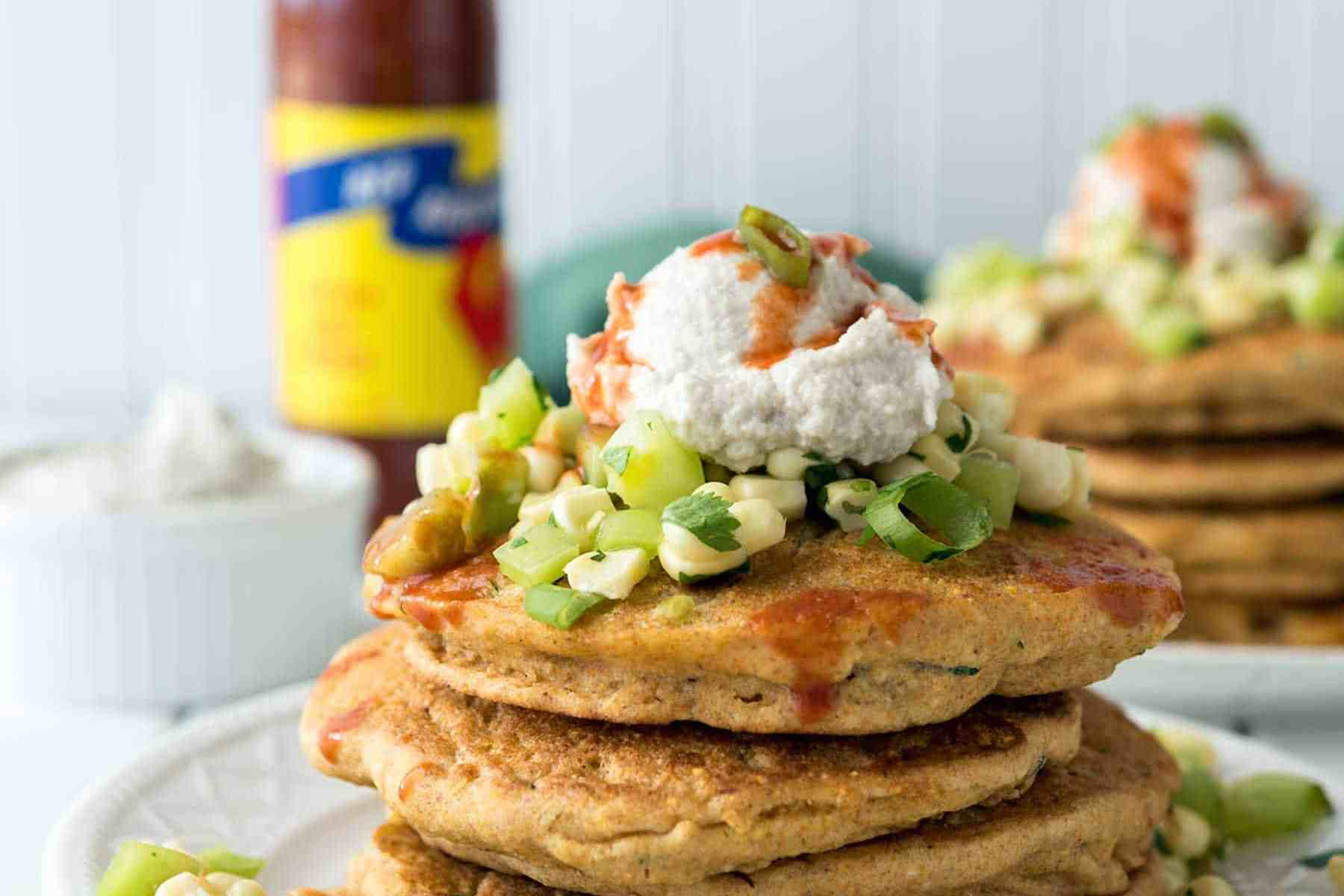 Zucchini Corn Cakes with Green Tomato Relish + Sunflower Sour Cream! A wonderful, savory, summer breakfast. #vegan #soyfree #nutfree #veganyackattack