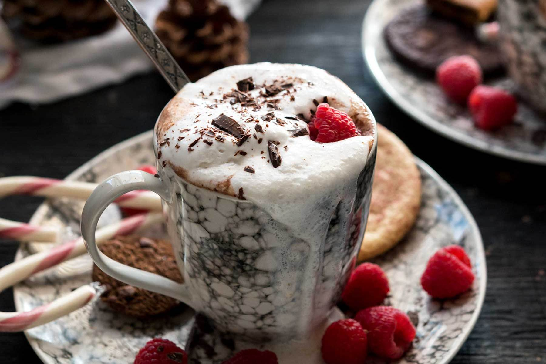 If you're looking for the perfect, warming beverage for cool, winter nights, look no further than this dairy-free, sugar-free Raspberry Hot Cocoa! #vegan #lenoxusa #healthy #glutenfree