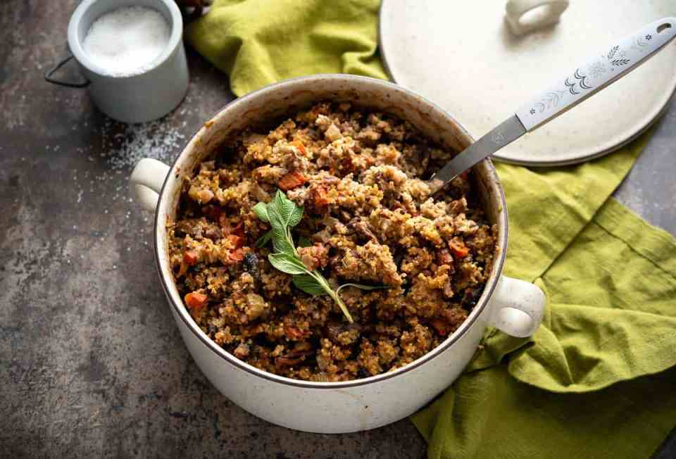 Stuffing is one of my favorite sides, at holiday dinners. So that no one feels left out, I've made this tasty, Gluten-free Millet Stuffing for everyone! Plus, it's in the cutest baking dish. #vegan #Danskdesign #dansk #thanksgiving #glutenfree