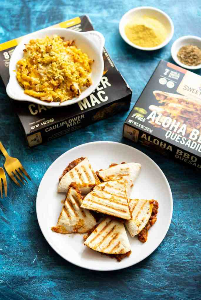 Review: Sweet Earth Foods Frozen Meals – BBQ Quesadilla // Cauliflower Mac