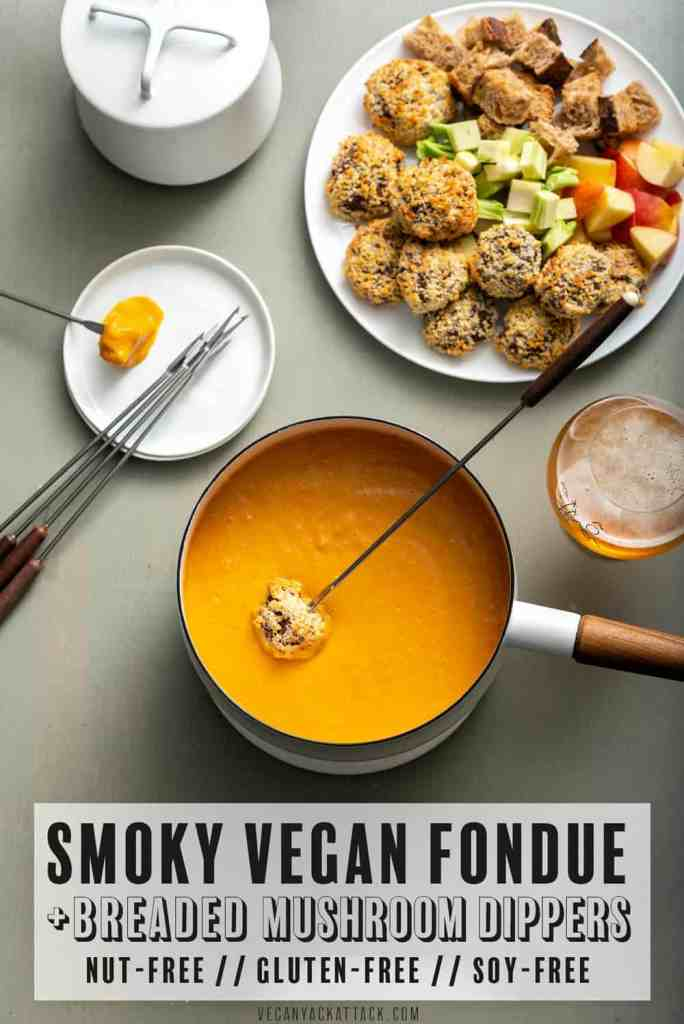 Need a shareable, fun, party meal? Make my Smoky Vegan Fondue with Breaded Mushroom Dippers! Not only is this cheezy goodness plant based, it's also nut-free and soy-free.