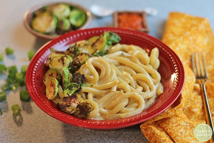 Cheesy udon noodle bowl with Brussels sprouts (Vegan)