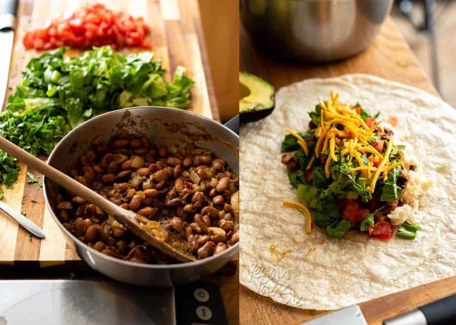 Pinto beans & assembling burritos