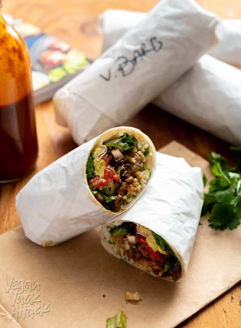 Burritos are one of my absolute favorite foods. So I'm pretty excited about this Street-Style Barbacoa Burrito recipe from 30 Minute Vegan Dinners by Megan Sadd! #vegan #plantbased