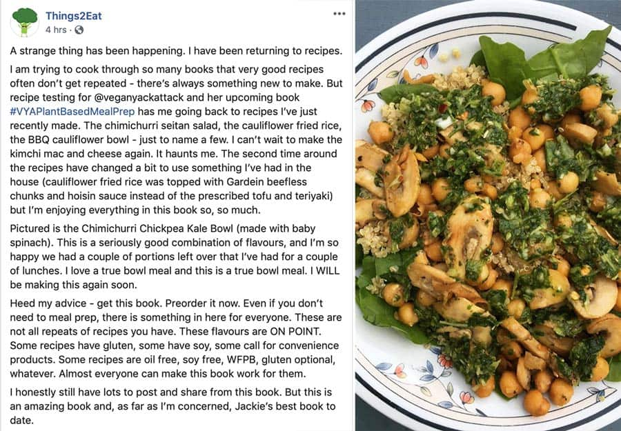 Testimonial from Things2eat, a recipe tester of Vegan Yack Attack's Plant-Based Meal Prep!