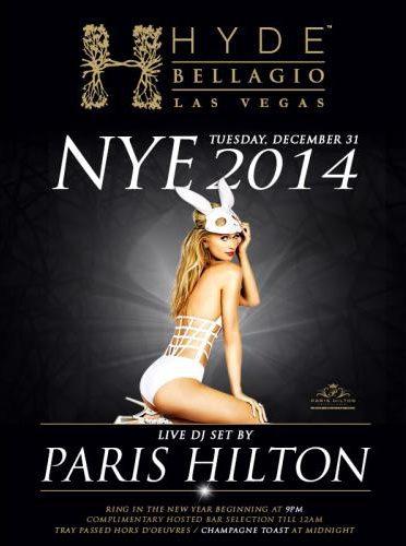 Paris Hilton Rings in New Years Eve 2014 at Hyde Bellagio in Las Vegas