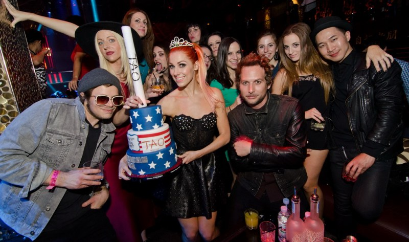 Bonnie Mckee with Cake and friends at TAO