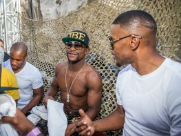 Floyd Mayweather Celebrates Victory at REHAB