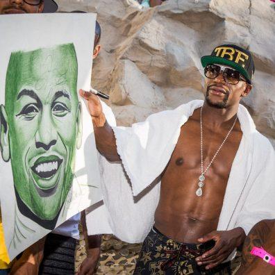 Floyd Mayweather Celebrates Victory at REHAB