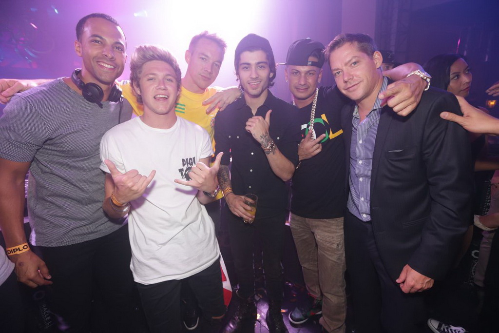Marvin Humes, One Direction's Niall Horan & Zayn Malik, Diplo, DJ Pauly D, & Jesse Waits at XS