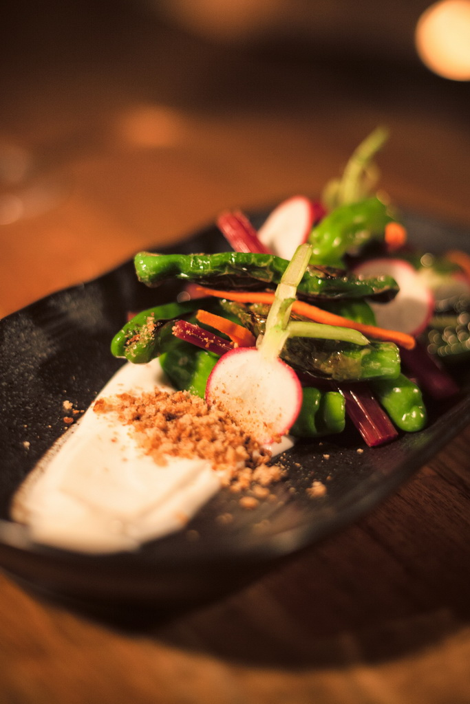 Lucky Foos - Shishoto Peppers with Pickled Swiss Chard Stems and Creamy Tofu Dressing