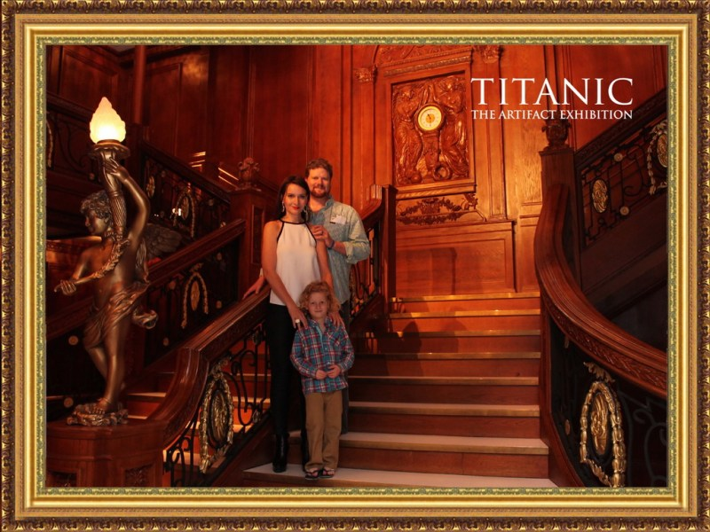 Rochelle Rose & family pose on the Grand Staircase at Titanic The Artifact Exhibition