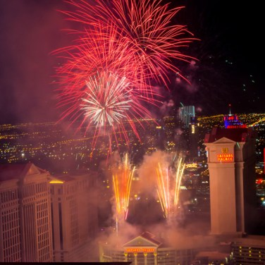 New Year's Eve fireworks on the Las Vegas Strip as seen from the High Roller