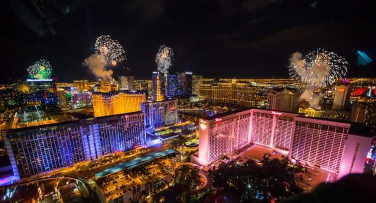 New Year's Eve fireworks on the Las Vegas Strip as seen from the High Roller.