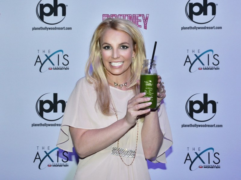 Britney Spears poses with a Bee Effective from The Juice Standard Las Vegas