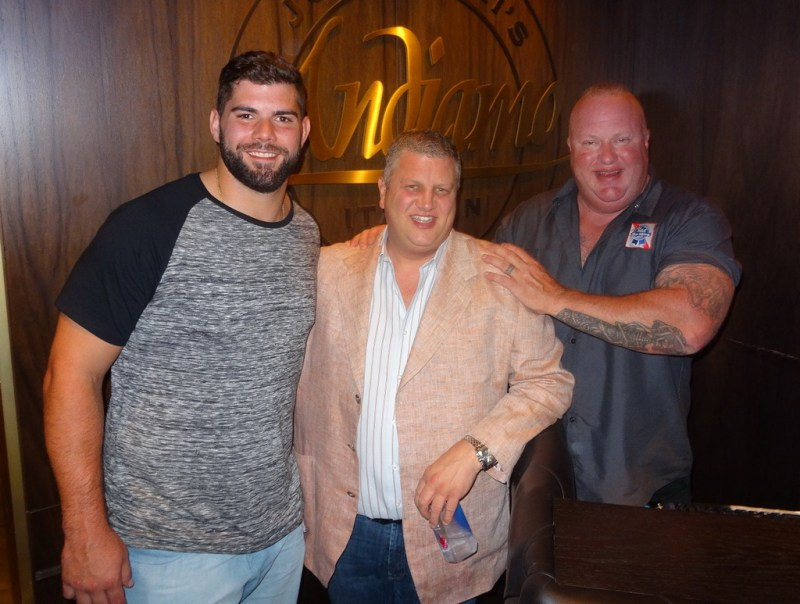 Justin Pugh with Derek Stevens and Andrew Ramsey at Andiamo Italian Steakhouse at the D Las Vegas