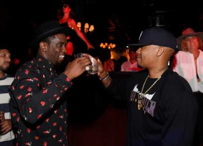 """Sean """"Diddy"""" Combs & Nas at Sean """"Diddy"""" Combs, Mark Wahlberg, and Stephen Espinoza host Double or Nothing Welcome to Fight Weekend Kick-Off Powered by CÎROC Vodka and AQUAhydrate"""