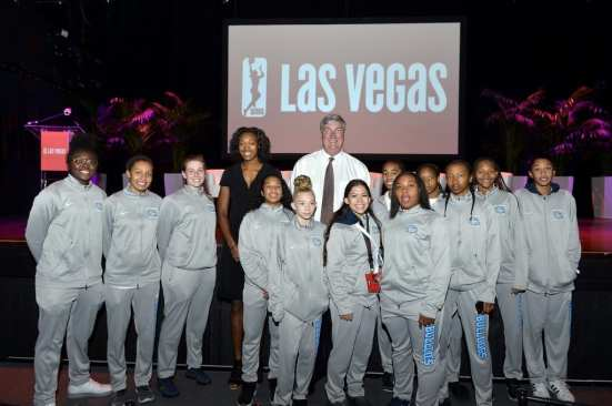 Centennial High School Basketball Players with Kayla Alexander & Bill Laimbeer at Las Vegas Aces & MGM Resorts Press Conference Event