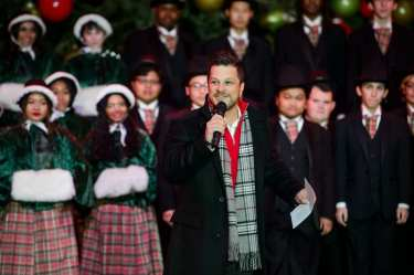 Emcee Mark Shunock at Holiday at The Park