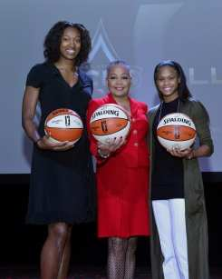 Kayla Alexander, Lisa Borders, Moriah Jefferson at Las Vegas Aces & MGM Resorts Press Event