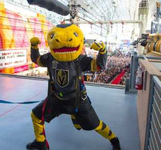 VGK Team Mascot, Chance, Rides the Slotzilla Zipline in Downtown Las Vegas