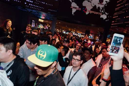 Crowds stood in line to be the first inside Esports Arena Las Vegas on opening day, March 22, 2018