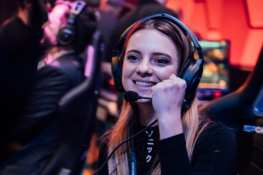 Local gamer Chelsea Maag celebrates after playing the first game at Esports Arena Las Vegas