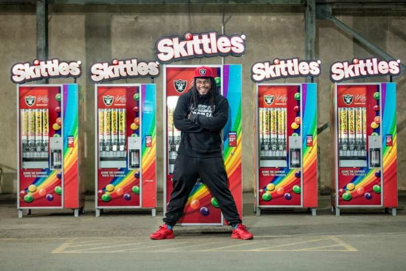 Marshawn Lynch with Skittles