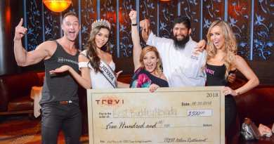 James Davis, Carolina Urrea, Courtney Perna, Chef Jose Navarro and Mariah Rivera at TREVI Charity Pizza Cook Off